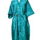 Decorish Unisex Lightweight Silk Kimono Bathrobe for Women & Men Rose Green Turquoise