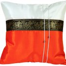 Thai Elephants Silk Throw Decorative Pillow Cover Orange