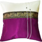 Thai Elephants Silk Throw Decorative Pillow Cover Plum Purple / Cream