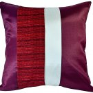 Silk Sofa Bed Decorative PILLOW COVERS - MAROON RED & CREAM Triple Stripe