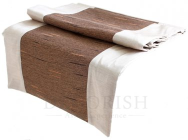 Pearl Ivory & Brown Stripe Silk Satin Decorative Table Bed Runner 14 by 64 inche