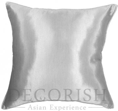 Silk Throw Decorative Pillow Cases for Sofa Couch Glacier Silver Gray 16x16