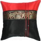 Silk Decorative Pillow Cases - Large Thai Elephant Design Black & Red