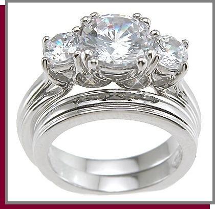 1.25 CT Brilliant Cut Sterling Silver Wedding Ring Set