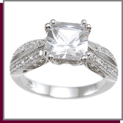 1.5 CT Antique Style Pave Sterling Silver Ring