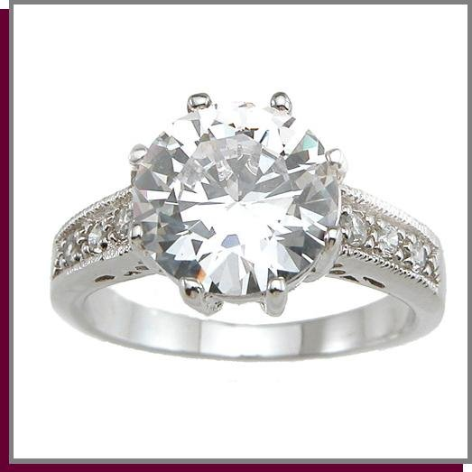 3.0 CT Antique Style Solitaire Sterling Silver Ring