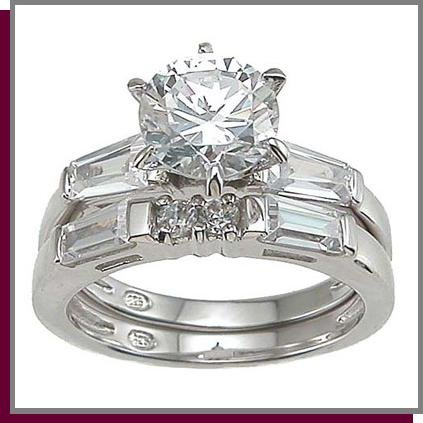 1.5 CT Brilliant Cut Sterling Silver Wedding Ring Set