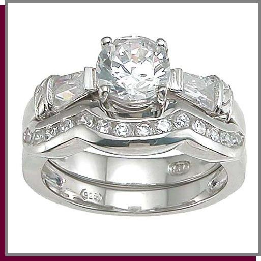 1.0 CT Brilliant Sterling Silver Wedding Ring Set