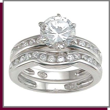1.5 CT Brilliant Sterling Silver Wedding Ring Set