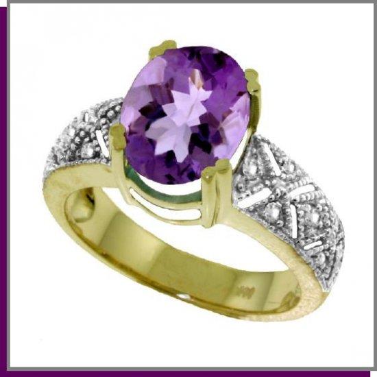 14K Solid Gold 3.0 CT Genuine Amethyst & Diamond Ring SZ 5 - 9
