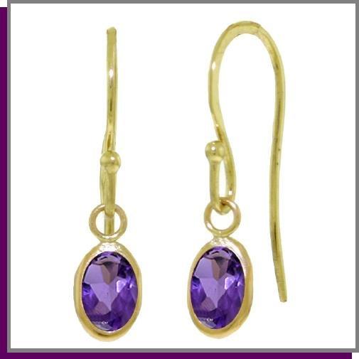 14K Solid Gold 1.0 CT Briolette Amethyst Earrings