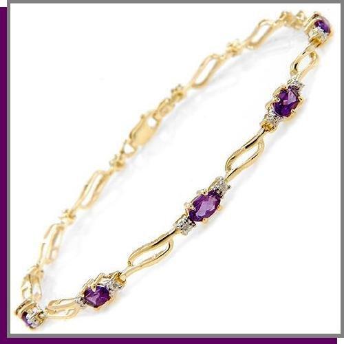 14K Solid Gold 2.95 CT Amethyst & Diamond Tennis Bracelet