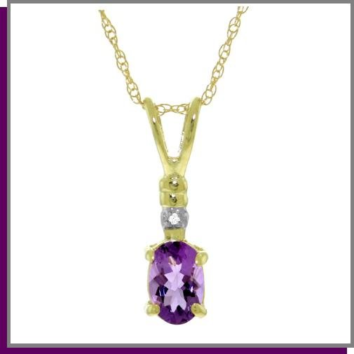 14K Solid Gold Genuine Diamond & Amethyst Necklace 18""