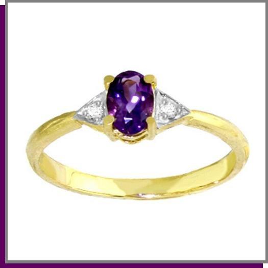 14K Solid Gold .45 CT Oval Amethyst & Diamond Ring SZ 5 - 9