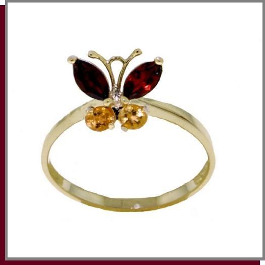 14K Solid Gold Natural Garnet & Citrine Butterfly Ring SZ 5 - 9