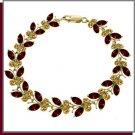 14K Solid Gold 16.5 CT Garnet & Citrine Butterfly Bracelet