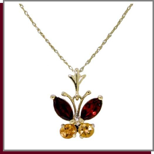 14K Solid Gold Natural Garnet & Citrine Butterfly Necklace