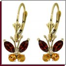 14K Solid Gold Natural Garnet & Citrine Butterfly Earrings