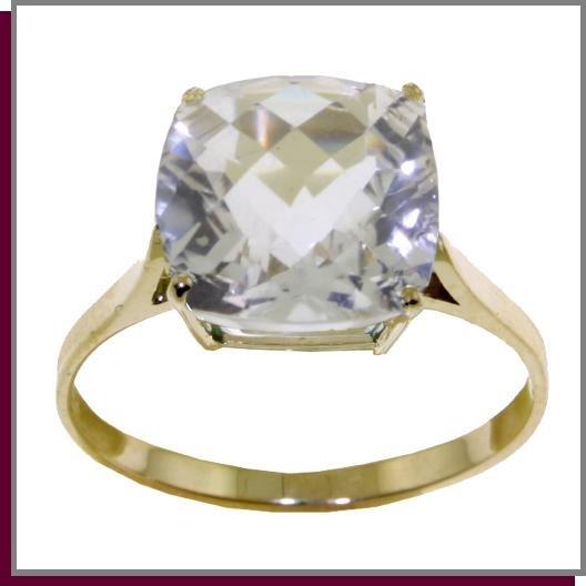 14K Solid Gold 3.6 CT Cushion Shape White Topaz Ring SZ 5 - 9