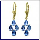 14K Solid Gold 4.5 CT Natural Blue Topaz Dangle Earrings