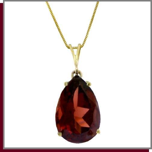 "14K Solid Gold 5.0 CT Pear Natural Garnet Necklace 18"""