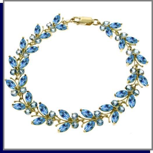 14K Solid Gold 16.5 CT Natural Blue Topaz Butterfly Bracelet