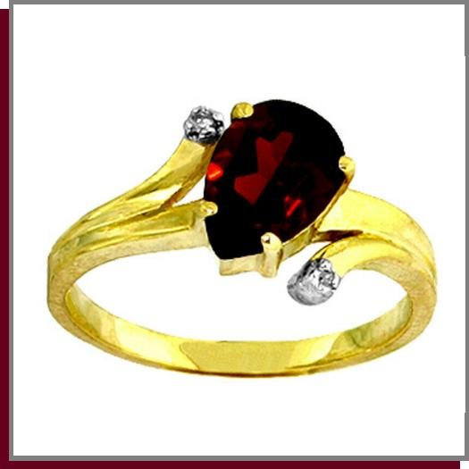 14K Solid Gold 1.50 CT Pear Garnet & Diamond Ring SZ 5 - 9