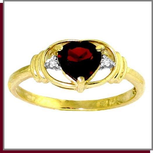 14K Solid Gold 1.0 CT Heart Garnet & Diamond Ring SZ 5 - 9