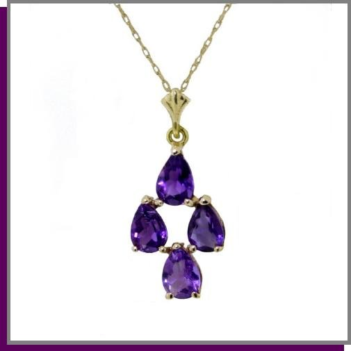 "14K Solid Gold 1.5 CT Natural Amethyst 18"" Necklace"