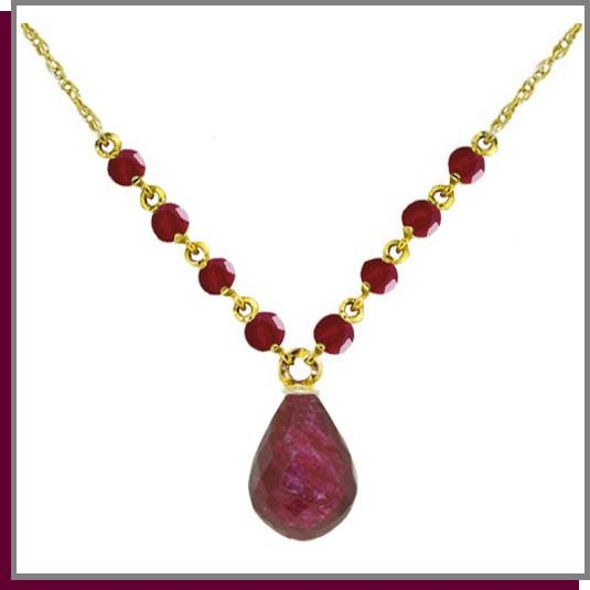 14K Solid Gold 16.0 CT Briolette & Round Natural Ruby Necklace 18""