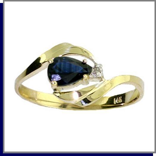 14K Solid Gold .50 CT Pear Sapphire & Diamond Ring SZ 5 - 9