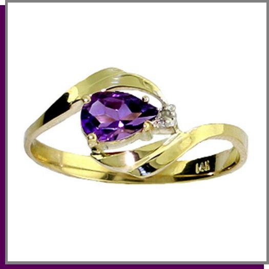 14K Solid Gold .50 CT Pear Amethyst & Diamond Ring SZ 5 - 9