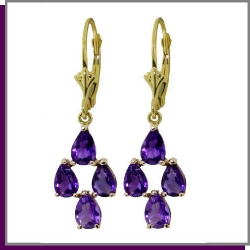 14K Solid Gold 3.0 CT Pear Amethyst Dangle Earrings