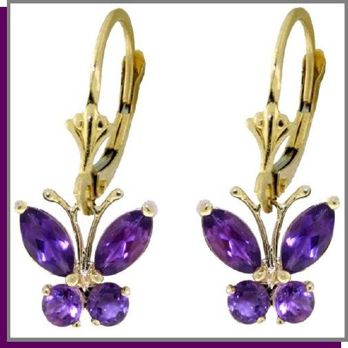 14K Solid Gold 1.25 CT Amethyst Butterfly Earrings