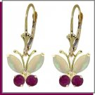 14K Solid Gold 1.39 CT Natural Opal & Ruby Butterfly Dangle Earrings