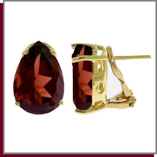 14K Solid Gold 10.0 CT Pear Natural Garnet Earrings