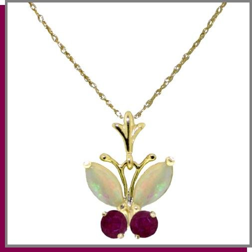 14K Solid Gold .70 CT Natural Opal & Ruby Butterfly Necklace