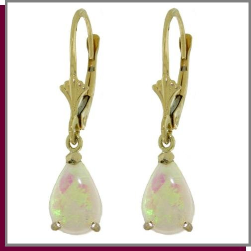 14K Gold 1.55 ct Pear Opals Leverback Dangle Earrings