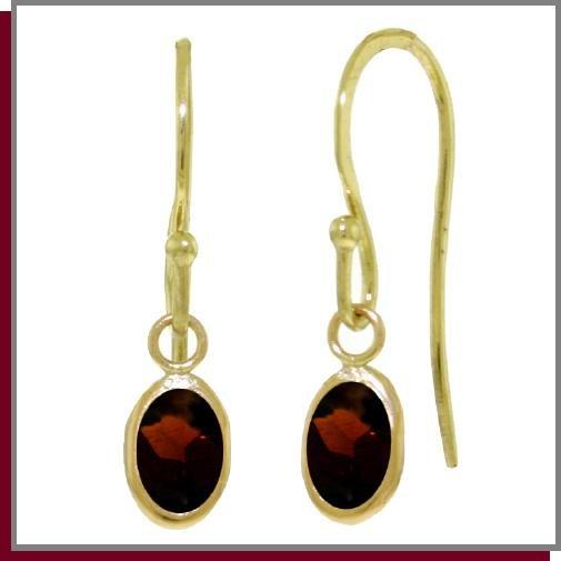 14K Solid Gold 1.0 ct Briolette Garnet Dangle Earrings