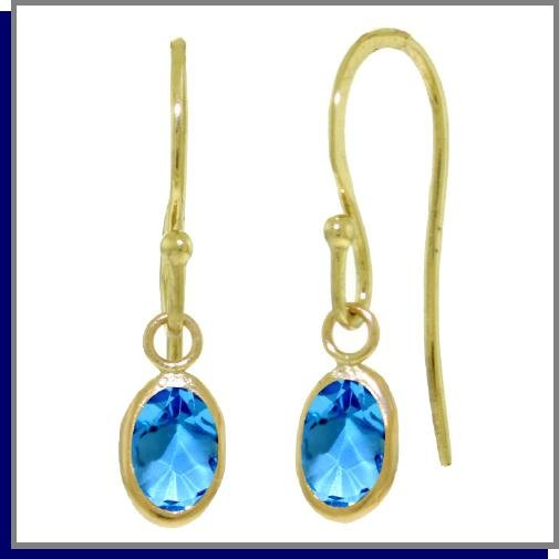 14K Gold 1.0 ct Briolette Blue Topaz Dangle Earrings