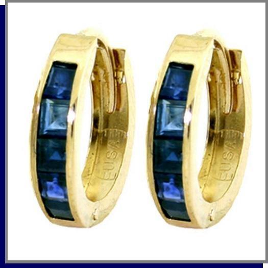 14K Gold 1.30 CT Princess Cut Sapphire Hoop Earrings