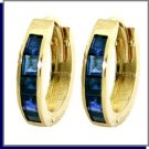 14K Gold 1.30 CT Princess Cut Sapphire Hoop Earrings