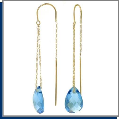 14K Gold Threaded Dangle Earrings 6.0 CT Blue Topaz