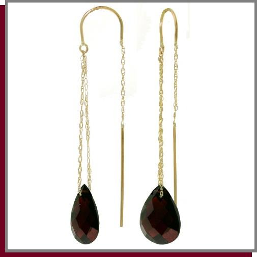 14K Gold Threaded Dangle Earrings 6.0 CT Garnets
