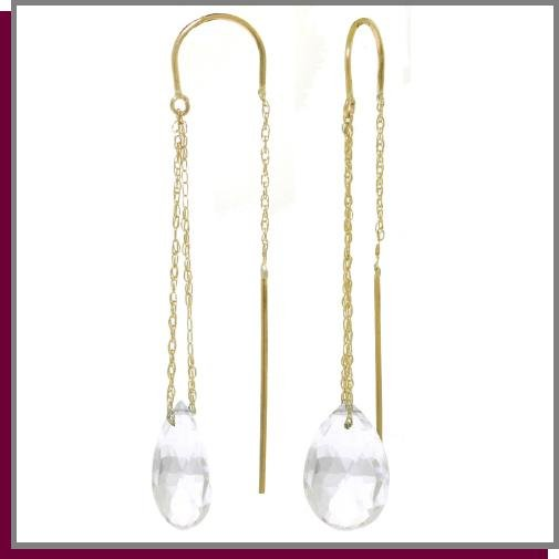 14K Gold Threaded Dangle Earrings 6.0 CT White Topaz