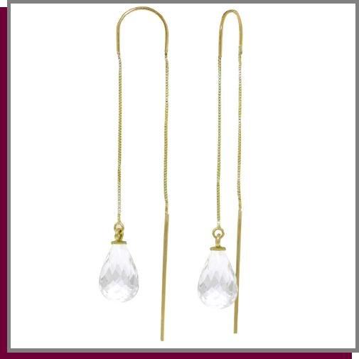 14K Gold Threaded Dangle Earrings 4.5 CT White Topaz