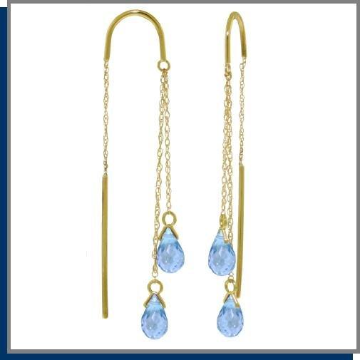 14K Gold Threaded Dangle Earrings 2.5 CT Blue Topaz