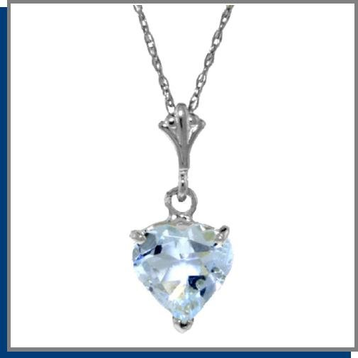 1.15 CT Aquamarine Heart Sterling Silver Necklace 18""