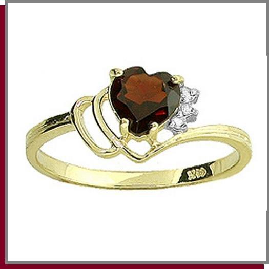 14K Gold 1.0 CT Heart Garnet & Diamond Ring SZ 5 - 9