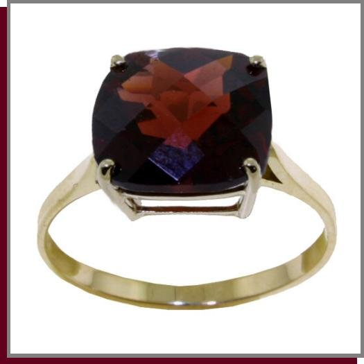 14K Solid Gold 3.6 CT Natural Garnet Ring SZ 5 - 9